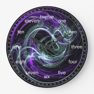 Light Within - Abstract Violet & Indigo Swirls Round Clocks