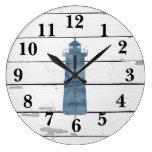Lighthouse Nautical Blue Shiplap Rustic Decor Large Clock