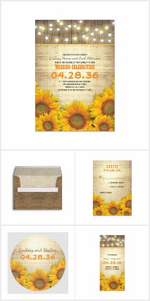 Lights Burlap Sunflowers Rustic Wedding Collletion