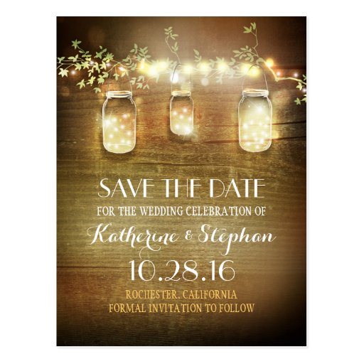 Lights Amp Mason Jars Rustic SAVE THE DATE Postcard Zazzle