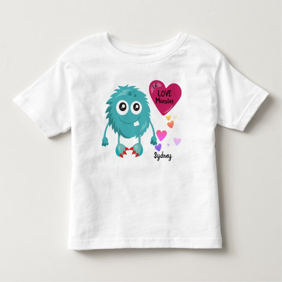 Lil Blue Love Monster with Hearts | Valentine's Toddler T-shirt