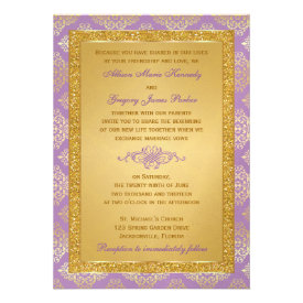 Lilac, Gold Glitter, Damask Wedding Invitation