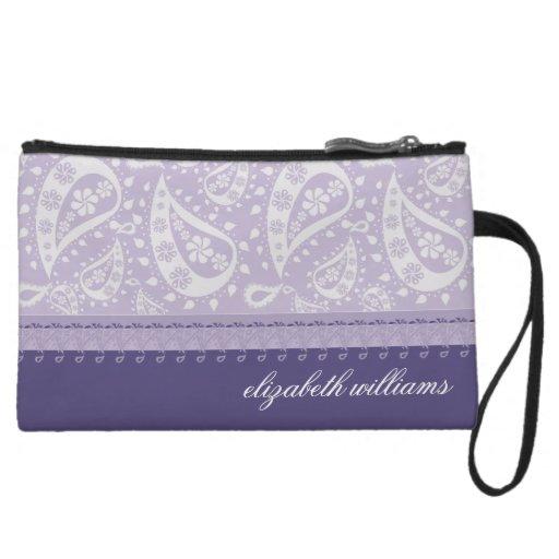 Lilac Paisley Purse Bagettes Clutch Wristlets