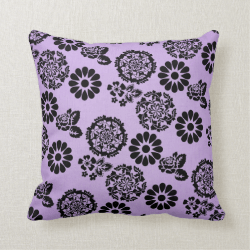 Lilac/Purple and Black Lacy Flower Pillow Cushion
