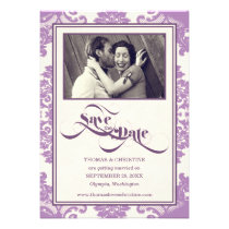 Lilac Purple Modern Vintage Save The Date Personalized Invitation