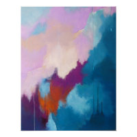 Lilac with Aqua Modern Abstract Painting - KT 2013 Poster