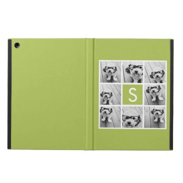 Lime Green Photo Collage Custom Monogram Case For iPad Air