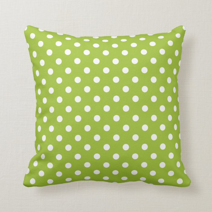 lime green polka dot throw pillow zazzle com