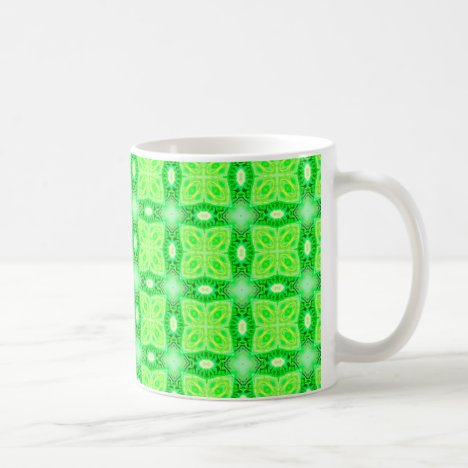 Lime Green Yellow Lattice Modern Hawaiian Quilt Coffee Mug