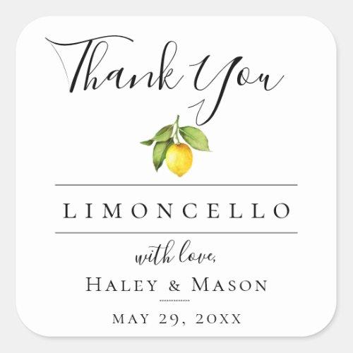 Limoncello Favor Thank You Square Sticker