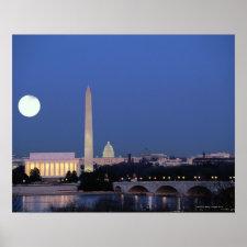 Lincoln Memorial, Washington Monument, US Poster