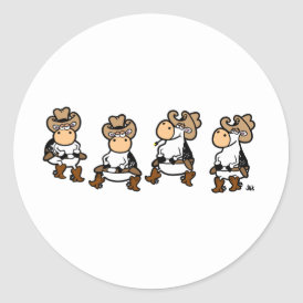Linedancing Cows Classic Round Sticker