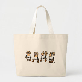 Linedancing Cows Large Tote Bag