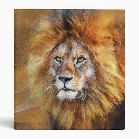 Lion Digital Oil Painting 3 Ring Binder