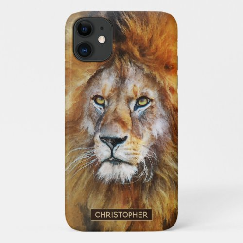 Lion Digital Oil Painting   Add Your Name iPhone 11 Case
