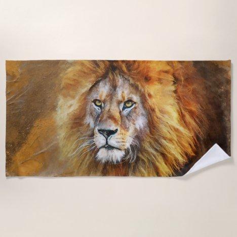 Lion Digital Oil Painting Beach Towel