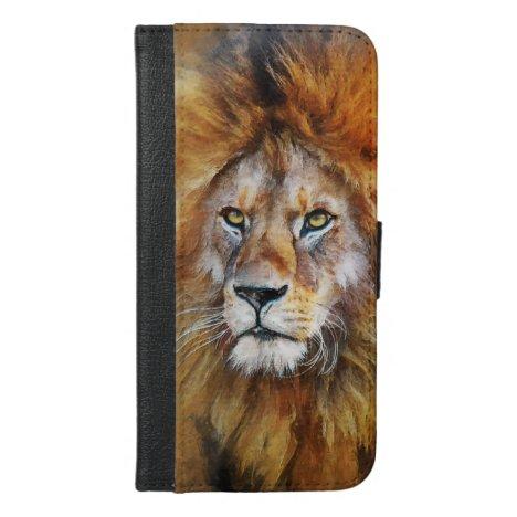 Lion Digital Oil Painting iPhone 6/6s Plus Wallet Case
