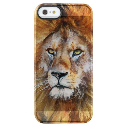 Lion Digital Oil Painting Clear iPhone SE/5/5s Case