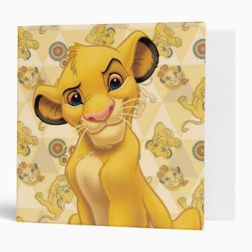 Lion King   Simba on Triangle Pattern 3 Ring Binder