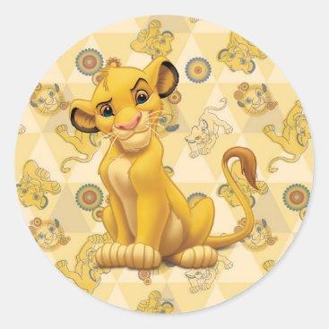 Lion King | Simba on Triangle Pattern Classic Round Sticker