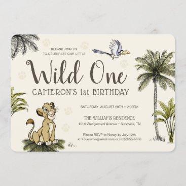 Lion King Wild One First Birthday Invitation