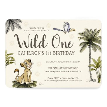 Lion King Wild One First Birthday Invitation