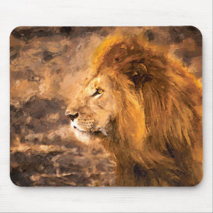 Lion Painting Golden King Art Mouse Pad