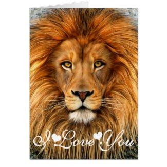 Lion Photograph Paint Art I Love You Card
