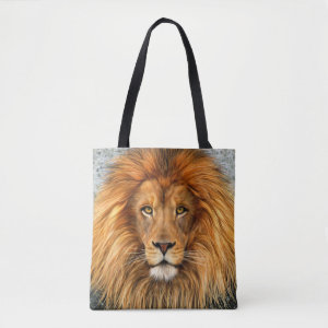 Lion Photograph Paint Art Tote Bag