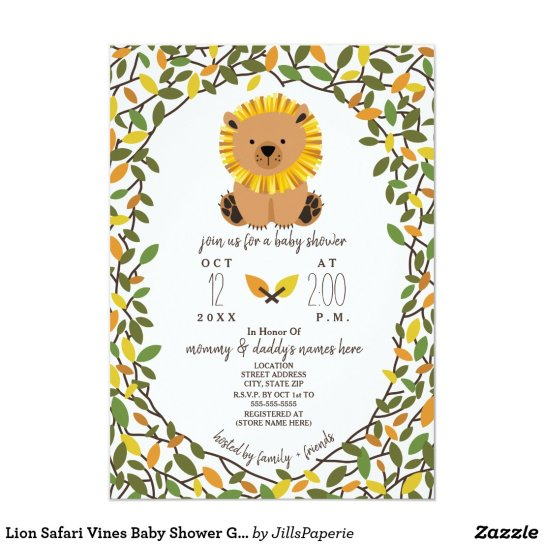 Lion Safari Vines Baby Shower Greenery Invitation