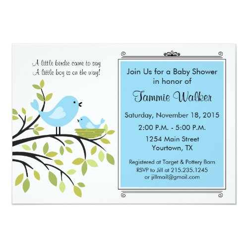 Little Bird Baby Shower Party Invitation