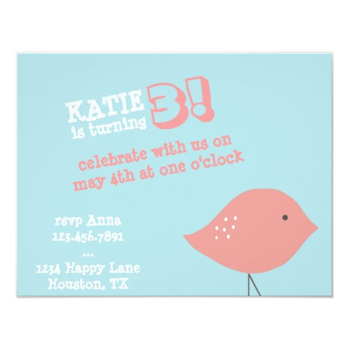 Little Bird Birthday Party Invitation