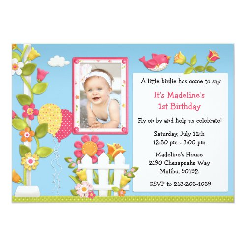 Little Birdie Birthday Party Invitation with Photo