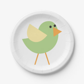 Little Birds (Green Bird) Paper Plate