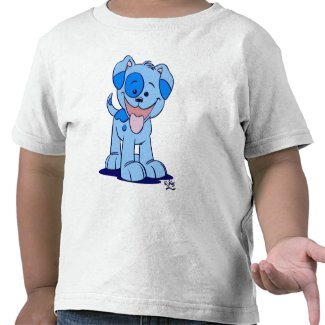Little blue puppy children T-shirt shirt