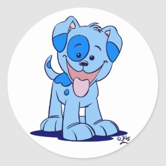Little blue puppy sticker sticker