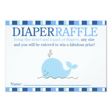 Little Blue Whale Baby Shower Diaper Raffle Card