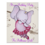 ❤️ Little Dancing Ballerina Elephant Party Invites