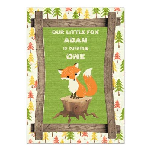 Little Fox Rustic Birthday Party Celebration Invitation