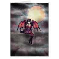 Little Gothic Vampire Fairy Art Fantasy Card