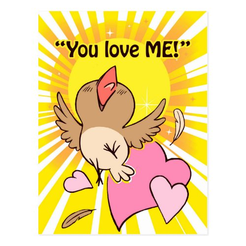 Little happy bird saying you love me! postcard