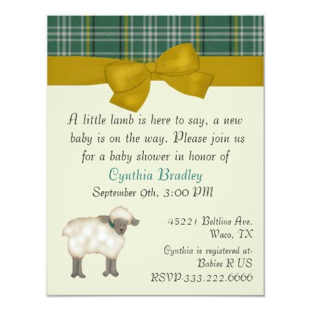 Little Lamb baby shower ideas invitation