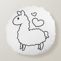 Little Llama Silhouette Round Pillow
