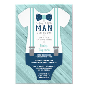 Little Man Baby Shower Invitation Navy Blue Aqua