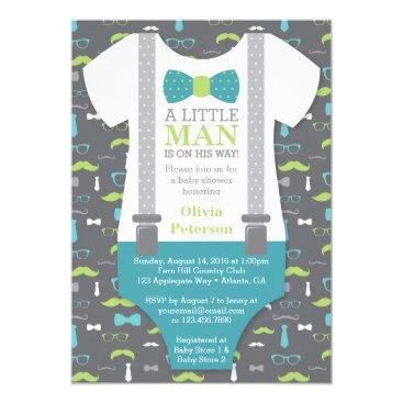 Little Man Baby Shower Invitation, Teal, Green Invitation