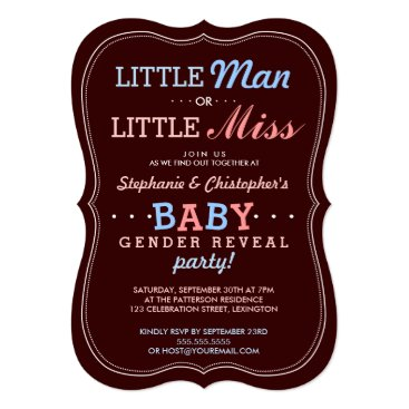Little Man or Little Miss Baby Gender Reveal Party Invitation
