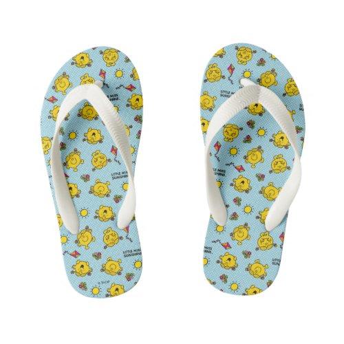 Little Miss Sunshine   Teal Polka Dot Pattern Kid's Flip Flops