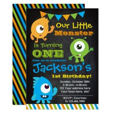 Little Monster Invitation, Chalkboard Invitation