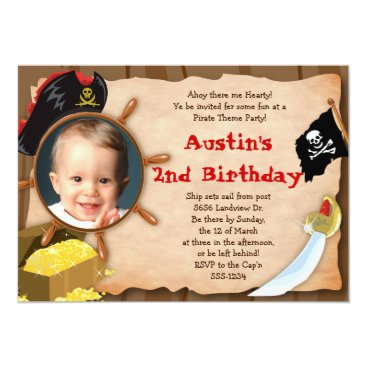 Little Pirate Invitation - Boys - with Photo