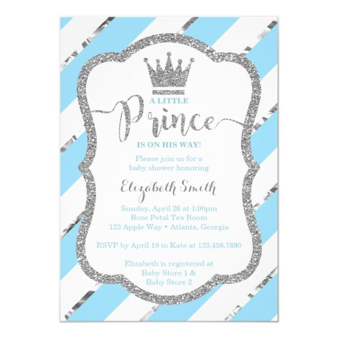 Little Prince Baby Shower Invite Faux